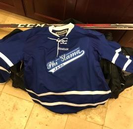 """""""fraternity"""" themed rec hockey team. Sharp sweaters!"""
